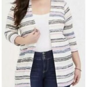 Torrid Women's Striped Cardigan 3/4 Sleeve Size 2